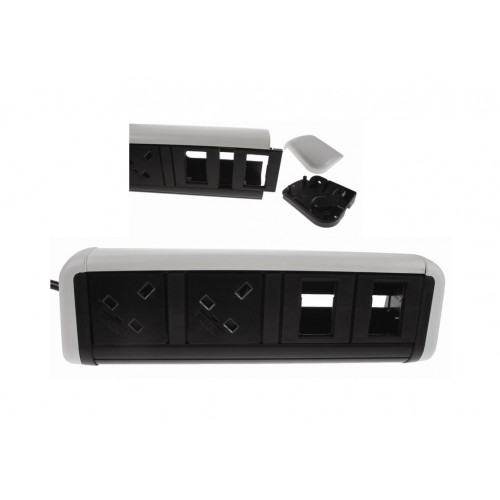 CMD Contour Desktop Unit 2 x UK Socket Power - 4 x Cat6 White/Black (Each)
