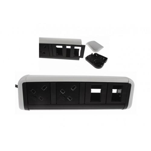 CMW Ltd  | CMD Contour Desktop Unit 2 x UK Socket Power - 4 x Cat6 White/Black