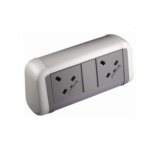 CMD Contour Desktop Unit 2 x UK Socket Power White/Grey (Each)
