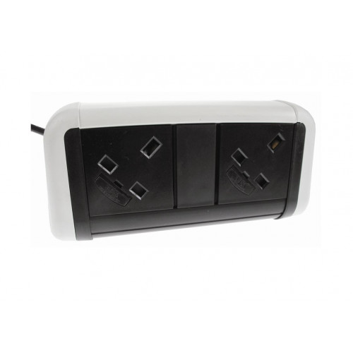 CMW Ltd Desk Cable Management | 2 Power White / Black Desktop Unit