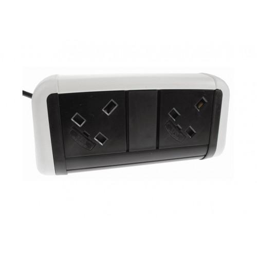 CMW Ltd Desk Cable Management | 2 Power White / Black Desktop Unit