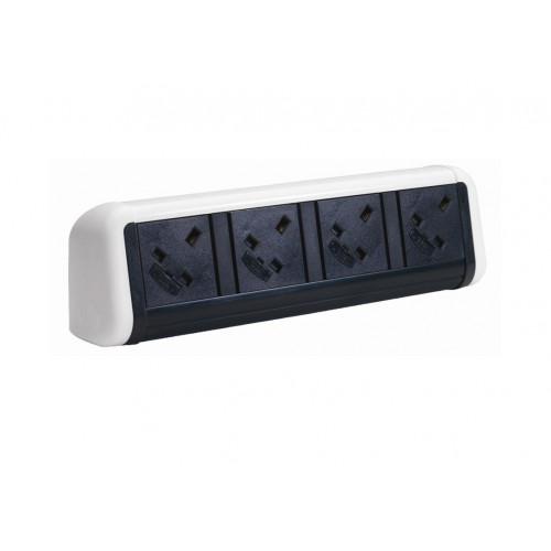 CMW Ltd Desk Cable Management | 4 Power White / Black Desktop Unit