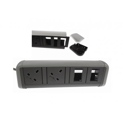 CMW Ltd Desk Cable Management | 2 Power 4 Data White / Grey Desktop Unit