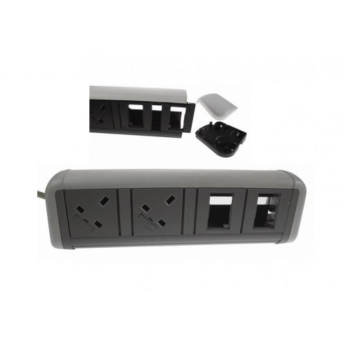 CMW Ltd Desk Cable Management   2 Power 4 Data White / Grey Desktop Unit
