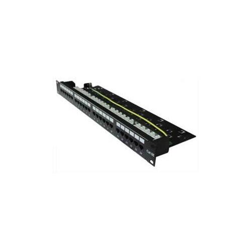 CMW Ltd, Structured Cabling Copper Patch Panel | Matrix 24 Port Right-Angled Cat5e 110/LSA Patch Panel-1U Black
