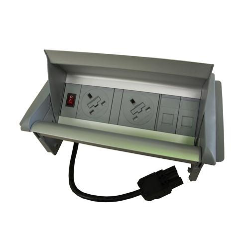Algar Aero-Flip In Desk Unit 2 x UK Socket Power - 2 x Cat6 Coupler Data Silver (Each)