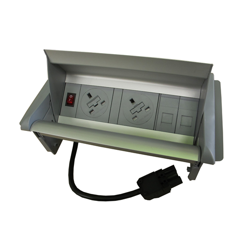 CMW Ltd  | Algar Aero-Flip In Desk Unit 2 x UK Socket Power - 2 x Cat6 Coupler Data Silver