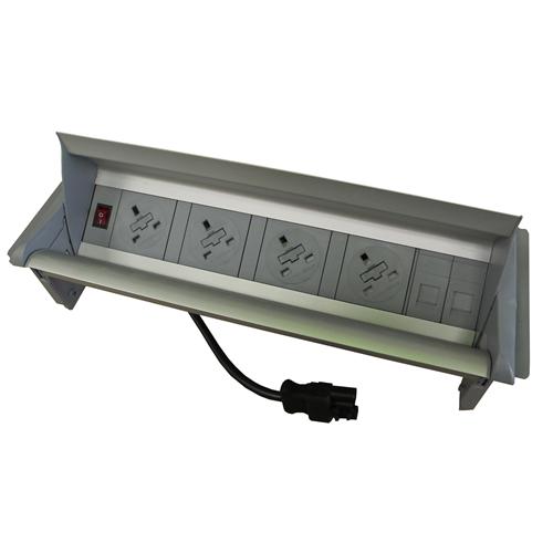 Algar Aero-Flip In Desk Unit 4 x 13A UK Power - 2 x Cat6 Coupler Data Silver (Each)