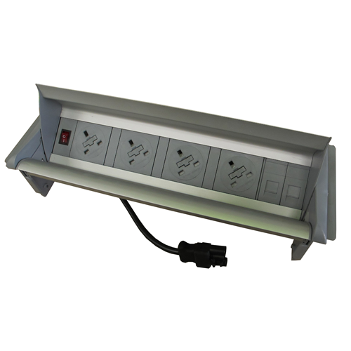 CMW Ltd  | Algar Aero-Flip In Desk Unit 4 x 13A UK Power - 2 x Cat6 Coupler Data Silver
