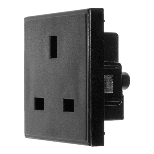 Black UK 13A EURO 50 x 50mm 240v Power Socket Module (Each)