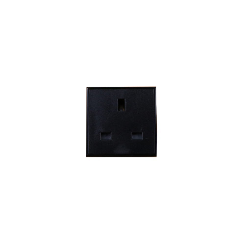 Black UK 13A EURO 50 x 50mm 240v Power Socket Module (Each)