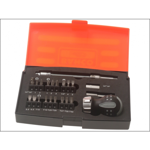 Bahco 808050S-22 | BAHCO Stubby Ratchet Screwdriver Set 22 Piece