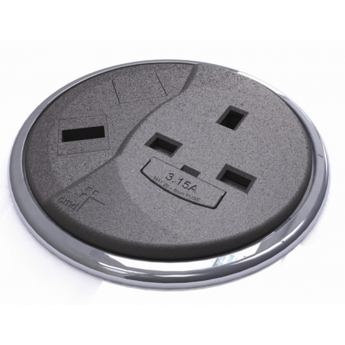 Black Desktop Porthole 1 x Power, 1 x Data (Each)