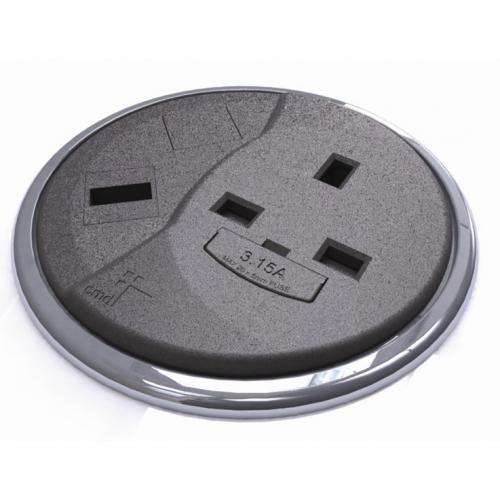 CMW Ltd Desk Cable Management | Black Desktop Porthole 1 x Power, 1 x Data