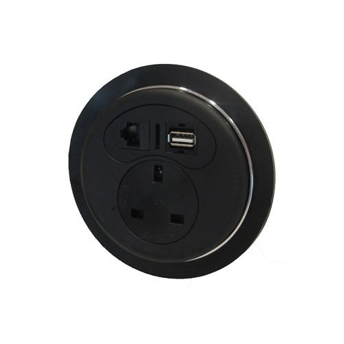 Black Desktop Porthole 1 x Power, 1 x Data, 1 x USB (Each)
