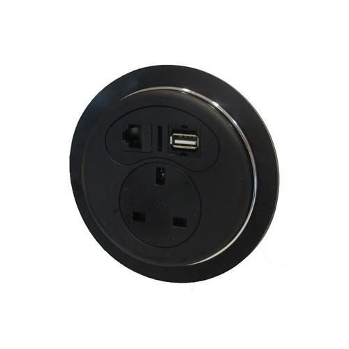 CMW Ltd Desk Cable Management | Black Desktop Porthole 1 x Power, 1 x Data, 1 x USB