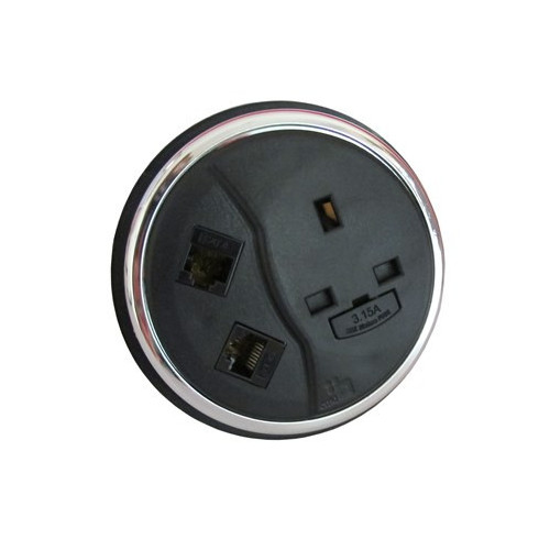 CMD Porthole In Desk Module 1 x 13A UK Power - 2 x Cat6 Data Module 80mm Black (Each)