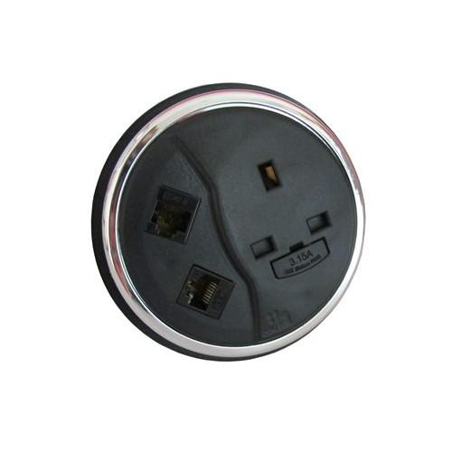 CMW Ltd  | CMD Porthole In Desk Module 1 x 13A UK Power - 2 x Cat6 Data Module 80mm Black