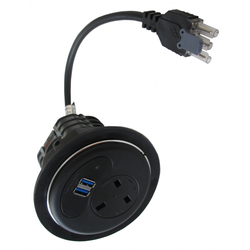 CMW Ltd  | Black Porthole with 1 Power, 2 x USB