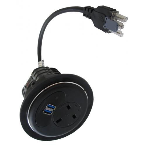 CMW Ltd  | Black Porthole with 1 Power, 2 x USB