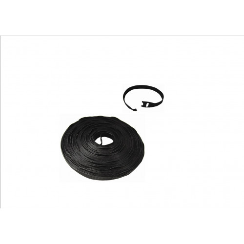Black 300mm x 13mm Hook & Loop Ties (Reel / 75)