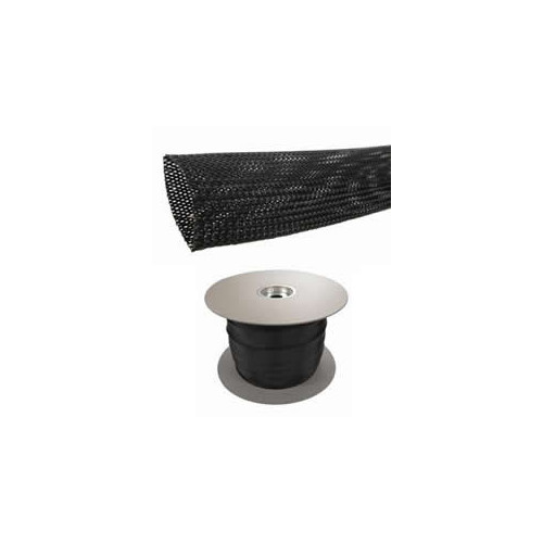 Cablecraft BRAIDED-SLEEVE 4MM | Black Expandable LSOH Braided Cable Sleeve 02-07mm (100m Reel)