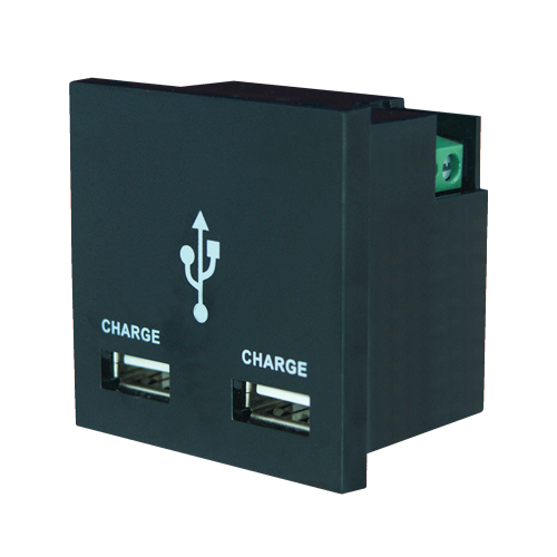 1 amp Black Double USB Charger (Each)