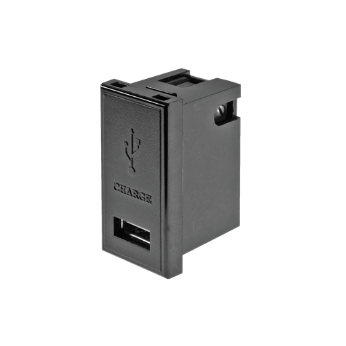 1 amp EURO 50 x 25mm Black Single USB Charger Module (Each)