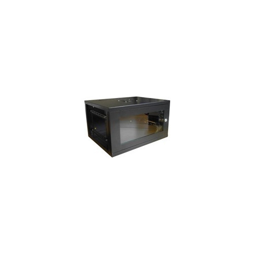 LMS DATA CAB-W6U-EL550 | 6U 19 inch 6u 550mm Wall Rack/ Box with Vented Glass Door with Locking Side Panel - Black