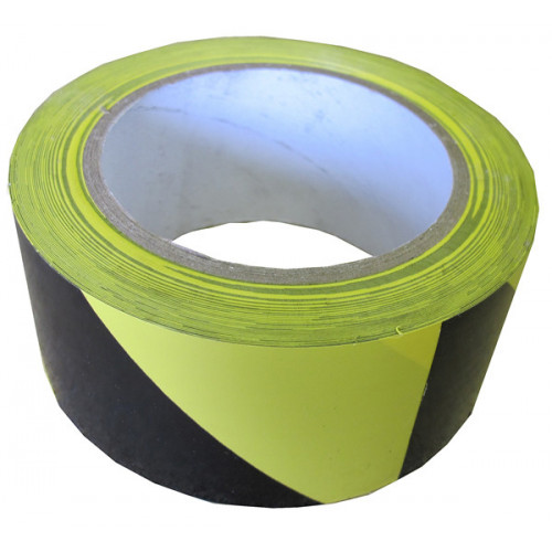 Black - Yellow 50mm Wide x 33m Long Hazard Warning Tape (Each)
