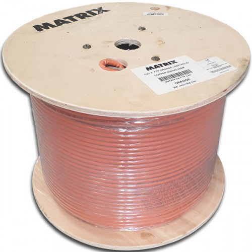 Cat6 23AWG Shielded F/UTP Eca Solid Cable Orange Cable 305m Reel - Matrix (305m Reel)