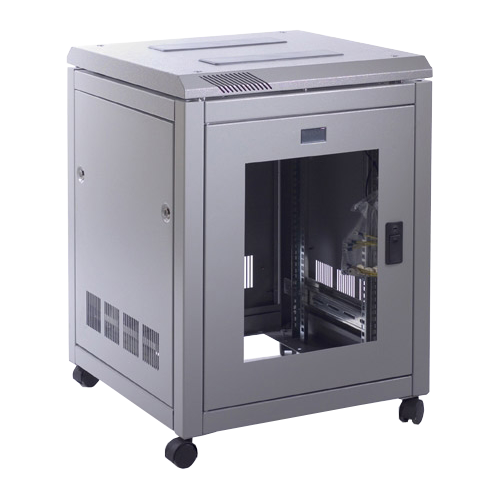 Prism CAB1266-GS-GY | Prism 12U 600mm x 600mm PI Data Cabinet In Goose Grey with Glass Front & Steel Rear Door
