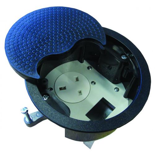 CMW Ltd, Desk Cable Management PG002B | Black Grommet with 1 x Power & 1 Data
