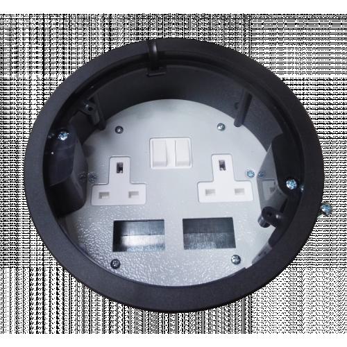 CMW Ltd, Desk Cable Management FGB169PDD | Black 2 x Power / 2 x Data Grommet