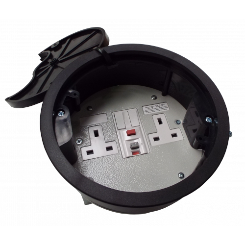 CMW Ltd, Desk Cable Management FGB169P | Black 13A RCD Twin Switched Grommet