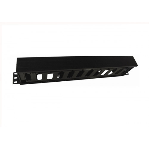 1u Black Plastic Slotted Finger Hinged Panel (Each)