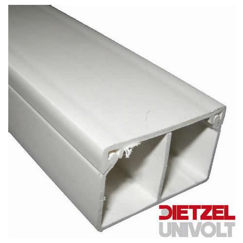 Univolt MIK25/40/2 | Dietzel Univolt 40mm x 25mm 2 Compartment PVC Mini Trunking 3m length White (3m lgth)