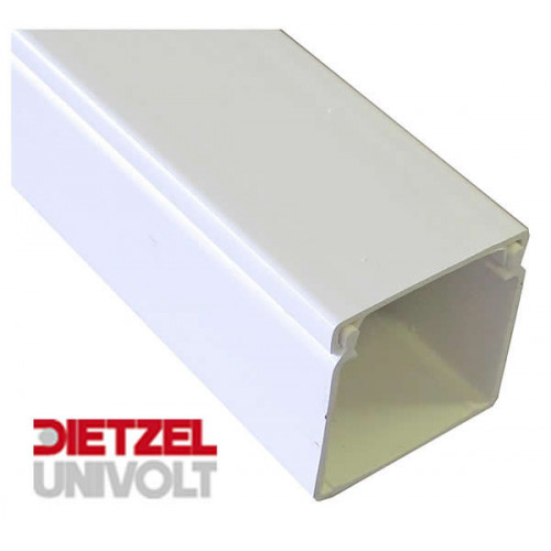 Univolt MAK75/75   Dietzel Univolt 75mm wide x 75mm high PVC White Maxi Trunking 3m length (3m lgth)