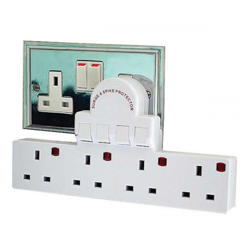 One to Four 13A Power Adapter with Surge & Spike Protection White (Each)