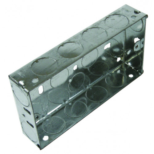 Double Gang 35mm Deep Galvanised Steel K.O. Box (Each)