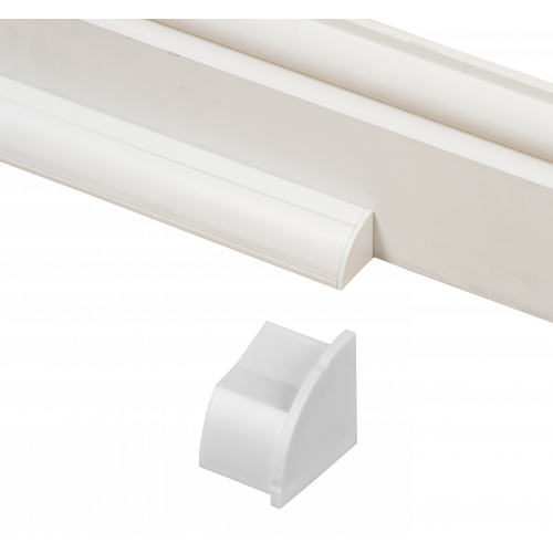 D-Line EC22QSW/R   D-Line White Smooth Fit Right Hand End Cap 22mm x 22mm