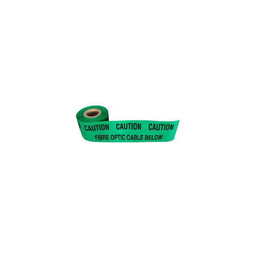 "Duct Marking Tape, Green ""Caution Fibreoptic Cable"" 365m"