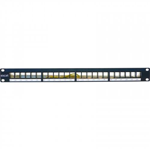CMW Ltd  | Excel 1U 24 Port Unloaded Keystone Panel - Black