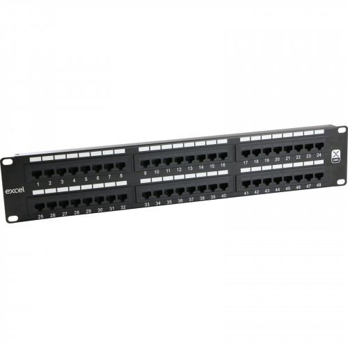 CMW Ltd, Structured Cabling Copper Patch Panel | Excel Cat6 48 Port 2U Patch Panel Black