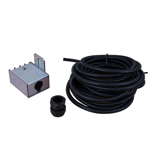 Fibre Cable Breakout Unit for multi loose tube cables, with up to 4 conduit outputs - complete with 8metre of 10mm flexible conduit