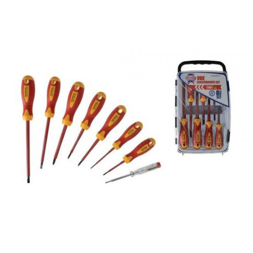 Faithfull FAISDVDESET8 | Soft Grip set of 8 VDE Screwdriver Set