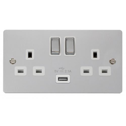 Polished Chrome 13a Switch with 2.1a USB (Each)