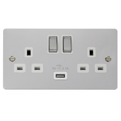 Scolmore FPCH570WH | Polished Chrome 13a Switch with 2.1a USB
