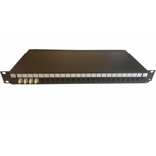 LC Duplex 8 port 24 position patch panel loaded with 4 LC duplex multimode adaptors (Each)