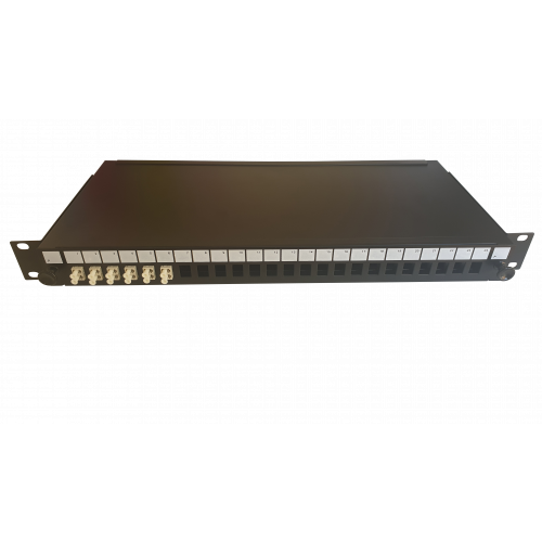 LC Duplex 12 port 24 position patch panel loaded with 6 LC duplex multimode adaptors (Each)